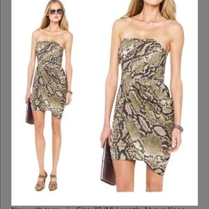 Michael Kors snake skin printed strapless dress